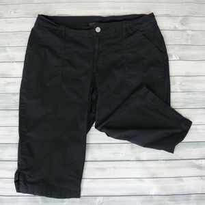 Lane Bryant Black Twill Chino Capris 16